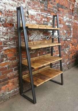 Rak hiasan kayu JATI belanda kombinasi besi.