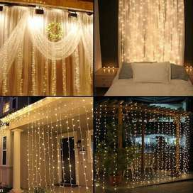 LED Curtain Tirai Dekorasi 3m x 3m Warm White 300 LED 8 Pilihan Nyala