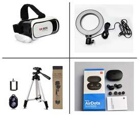 Bluetooth Tripod and Selfie Ring light MI Airdots and VR Box Available