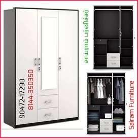 Sairam Furniture New 3 door wardrobe Bero with mirror discount offer