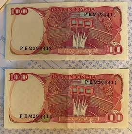 Uang kertas Indonesia Rp.100 tahun 1984