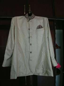 Offwhite beige chinese collar festive shirt - bandgala diwali/wedding
