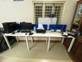 Three seater work station table with chairs