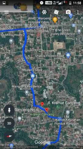 Disewakan Tanah Kosong LT 874 M2 Jl Raya Pondok Ranggon