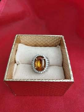Cincin Eropa Pria Berlian Yellow Sapphire Afrika Chrystal Kode 019