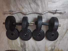 2 Dumbles and rod along with weights.