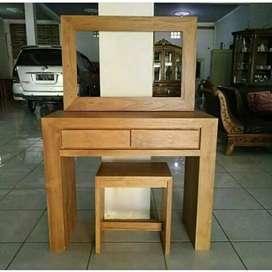 Maja rias, meja cermin, kayu jati finis natural, free ongkir