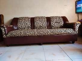 Brown white leather sofa