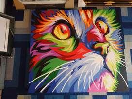 Lukisan Pop Art Potrait Kucing