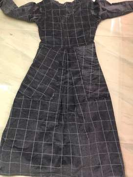 Black check full length dress