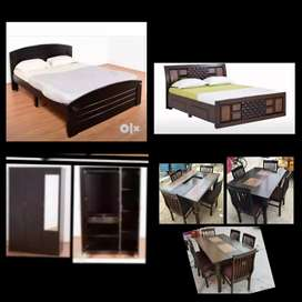 New 4*6 wooden double cot+mattress 7500 free delivery