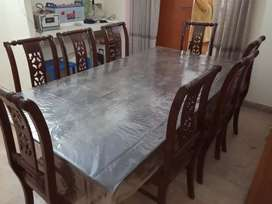 Dinning table glass with 8 chairs