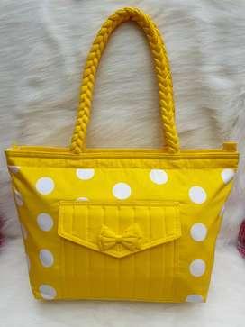 Tas import eks NARAYA made in Thailand tote kuning shoulder bag