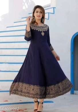 Gold Floral Printed Solid Anarkali Style Ankle Length Rayon Kurti
