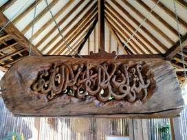 Lampu ukir kaligrafi kayu jati tua erosi