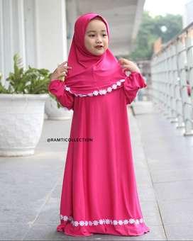 Set Gamis Anak Cewek - Baju Muslim Perempuan Imut - Cilla Dress