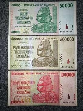 3 lembar Uang asing ZIMBABWE 50 ribu /500 ribu /100 th 2008