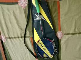 Lining badminton racket with blue bg 65 guts and lining grip original