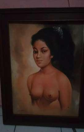 Lukisan Kanvas Lawas Gadis Bali