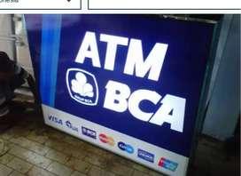 buat plank neon box atm papan nama reklame bank bpr kantor toko dll