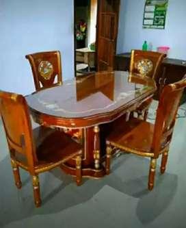 Meja makan salina kursi4 material kayu jati AJF1818