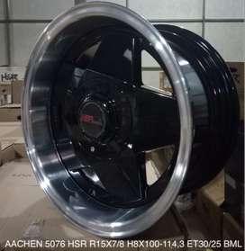 velg mobil honda brio  HSR R15X7-8 H8X100-114,3 ET30-25 BML