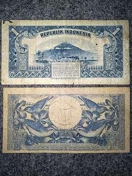 2 lembar uang kertas kuno 1 rupiah th 1953 & 5 rupiah th 1959