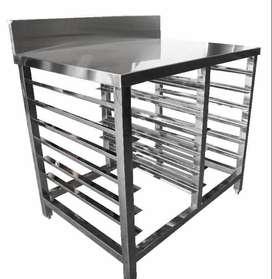 meja stainless steel untuk produksi roti 12 rak di balikpapan