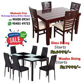 Nice best Wooden / Glass Dining Table and Dining set 4 / 6 Chairs Seat