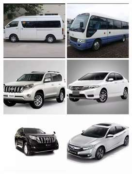 All cars,coasters,hiace available for rent.