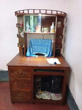Computer table, study table cum showcase            pure wood