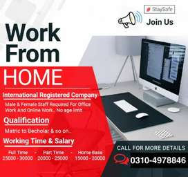 Online job home base /office base for male and female