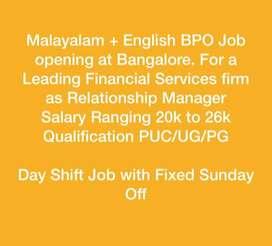 Malayalam/Tamil + English BPO Job for Financial firm