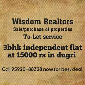 3bhk flat in dugri phase 3 for rent