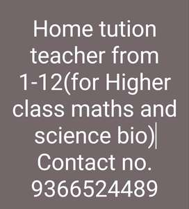 Home tution teacher.From class 1-10.English medium students.