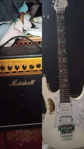 Jual gitar listrik elektrik ibanez + ampli marshall