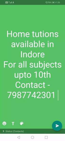 I an giving Tutions in Indore for all subjects upto 10th.