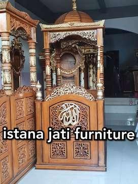 Mimbar kubah masjid mimbar ukiran ( jati solid )