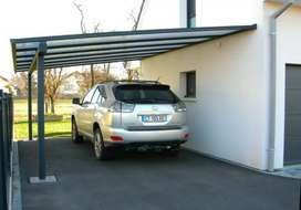 Heat protection and rain protection car parking fiberglass shade