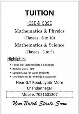 Mathematics, Science and Physics Tuitions for ICSE and CBSE Boards