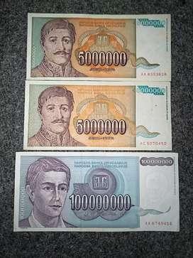 3 lembar uang kertas asing lawas th 1993 borongan