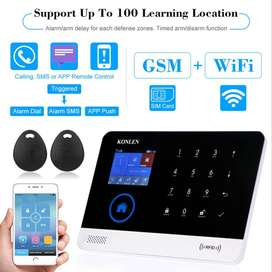 WiFi,GSM Home Security Alarm System with 2 Door Sensors, 1 Motion Sens