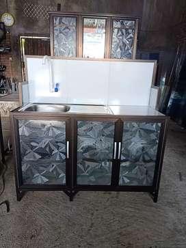 Jual rak piring aluminium lengkap dengan tempat cuci piring terimakasi