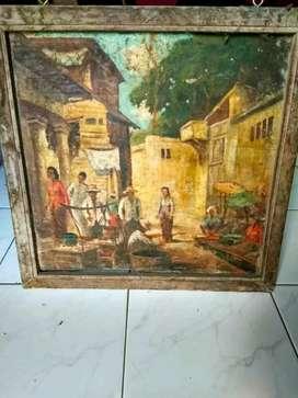 Lukisan tua nyaris punah kondisi apa adanya seperti di foto