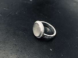 Real Moonstone Embedded in Pure Silver Ring