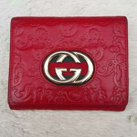 Dompet import eks GUCCI made in Italy ad no seri merah kulit asli tbal