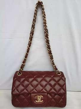 Chanel paris made in France maroon kulit asli ad no seri sling mini