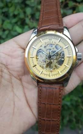 Rolex skeleton gold leather strap brown hanya 1 ya