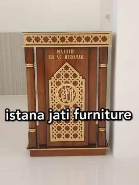 Mimbar podium minimalis ( mimbar masjid musholla ) material jati