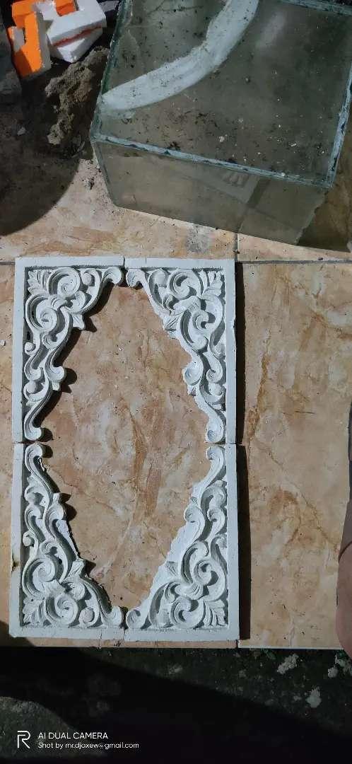 Ornamen siku relief batik , batu tempel ornamen dinding ornamen murah